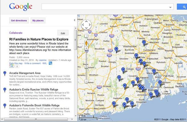 Google Map – Rhode Island Families in Nature